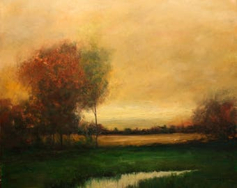 Landscape Original Oil Painting Large Woodland Scene