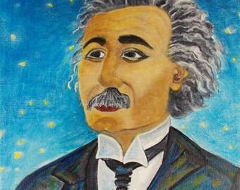 Albert Einstein Painting Young Albert Einstein Painting Portrait Painting Einstein painting Original Painting