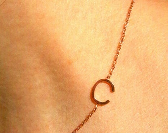 İnitial Necklace-14K Gold Sideways Necklace-Letter Necklace-Gold Necklace-14K Gold Handmade Sideways Initial Necklace