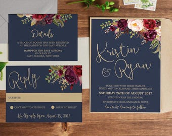 Wedding invitation, wedding invitations, printable invitation, wedding invite, template, navy gold marsala wedding invites LUCY SUITE