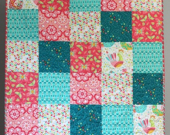 Baby Girl Quilt- Teal Coral Pink- Teal Baby Quilt- Coral Baby Quilt- Baby Quilt For Girls- Birds and the Bees Tamara Kate- Homemade Quilt