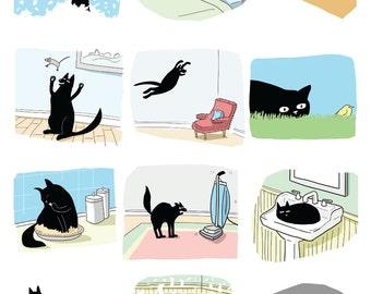 cat print, black cat print, funny cat illustration, cat comic, misbehaving cat, destructive cat, cat in sink, cat stalking bird mouse