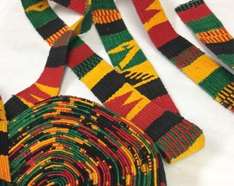 Hand-Made multi color Strapping. Jamaican multi color design, Hand Loomed Textile, 3 Yard Piece. Guatemala