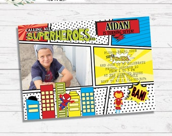 Superhero Comic Strip Birthday Invitation | Red, Blue, Yellow, Black, and White