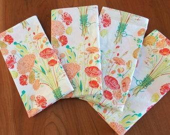 Peach Napkins (4) with Red Flowers, Floral Napkins, Spring Napkins, Easter Napkins, Large Napkins, Cotton Napkins, Hostess Gift, Reminisce