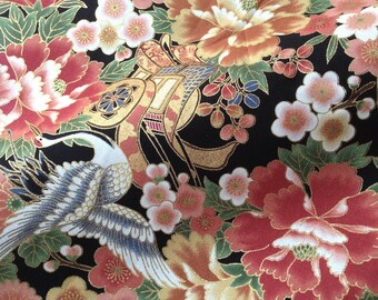Japanese fabric, traditional crane pattern and flowers, black background, cotton 110 x 50 (254)