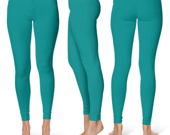 Teal Leggings, Stretchy Yoga Pants, Mid Rise Waist Workout Pants for Women