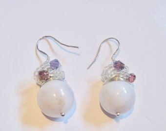 Natural chalcedony stone earrings, 925 sterling silver