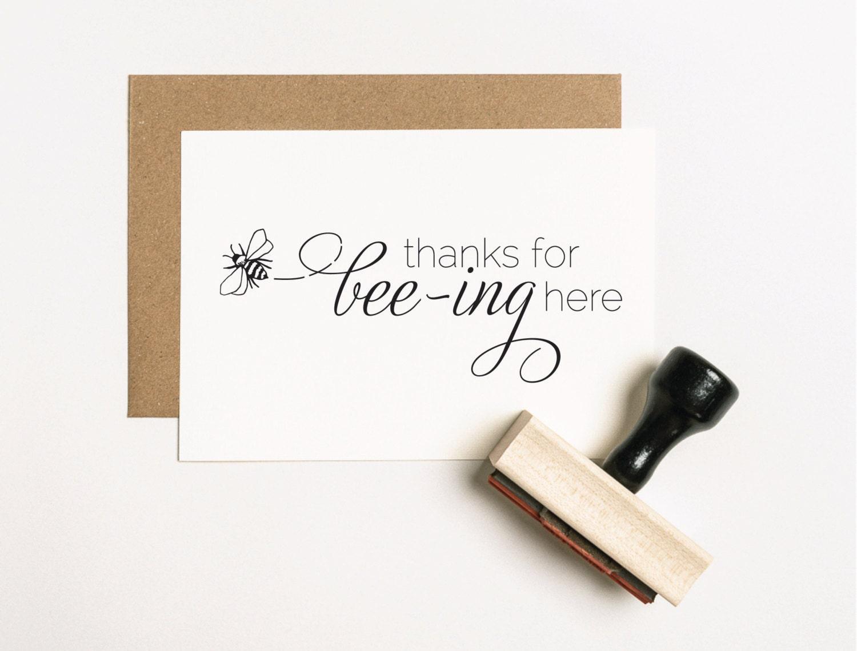 Thanks For Bee-ing Here Favor Stamp Honey Favor Stamp Custom