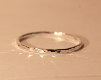 Silver stacking ring - Thin silver ring 16g - Silver Thumb ring - Thin silver band - Color will not peel off or fade