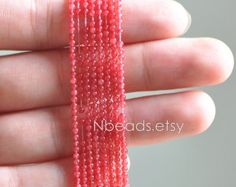 Red Quartz Stone beads 2mm Smooth Round -V6054-3 / Full strand