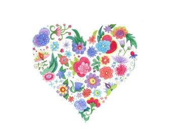 Rainbow floral heart illustration