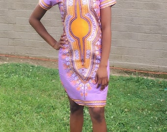 African Dress for women. Handmade. Short Gown. Purple and Yellow Print. Dashiki African Dress.  FREE SHIPPING!