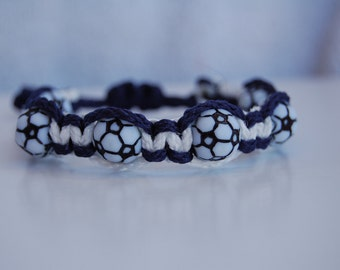 Navy Blue and White Soccer Bracelet