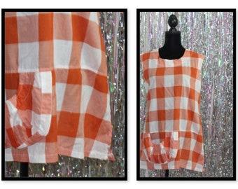 Vintage Katktus Orange Stripe Cotton Top Dress  (S)