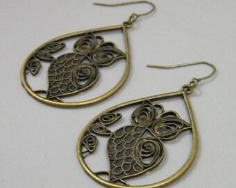 Fancy Owls - Antique Brass Detailed Owl Teardrop Earrings - Big Long Neutral Bird Owl Metal Antiqued Earrings