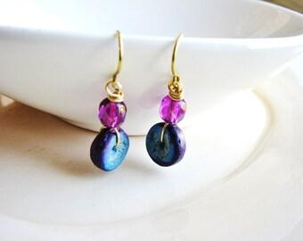 Wood Bead Earrings, Blue and Purple Earrings, Czech Glass Earrings, Dangle Drop Earrings, Minimalist Earrings