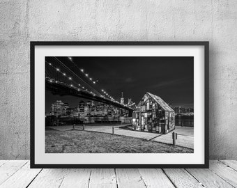 Lighthouse in Brooklyn Bridge Park - New York Photography, Black and White, Cityscape, Wall Art, NYC, Fine Art Print, Urban Art, Home Decor