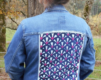 40% OFF SALE upcycled hand painted denim jacket