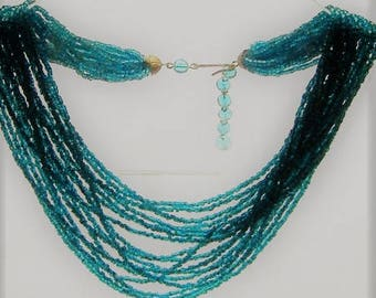 1950S MULTI stranded  necklace glass beads BLUE