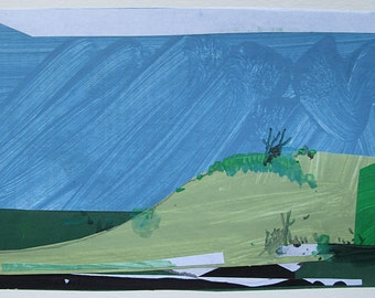 Snake Hill, Original Landscape CollagePainting on Paper, Stooshinoff