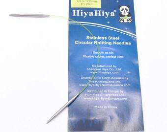 """US 2.5 (3 mm) 9"""" sock circular HiyaHiya Stainless Steel Knitting Needle"""