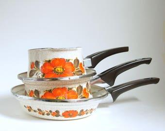 Vintage Japanese Cookware, Sanko Ware Pan, Show Pans, Orange Flowered Skillet, Enamel Sauce Pan, Retro Kitchen