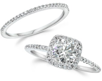 Diamond Engagement Ring Cushion Halo Set Solid 14 KT White Gold 1.25CT