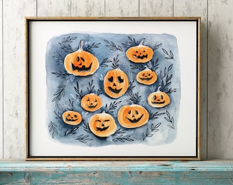 Halloween Watercolor Print, Jack O Lantern Art, Halloween Watercolor,  Child's Nursery Wall Decor, Spooky Pumpkin, Autumn, Fall, Orange