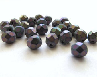 Matte Iris Purple Faceted Round Glass Beads, 6mm - 25 pieces