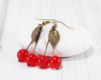 Red Cherry Earrings food jewelry Fruit Earrings Berry Jewelry kitsch jewelry rockabilly earrings jade jewelry blossom earrings girls jewelry