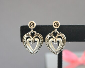 Vintage Double Hanging Heart Post Earrings