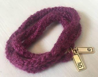 Easter basket stuffer Mother's Day Gift Charm Bracelet Initials handmade crochet Baby shower stretchy yarn Purple Gray