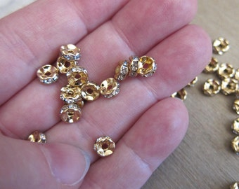 6x3mm, Rondelle Spacer Beads, Gold-Plated Brass, Crystal Clear Glass Rhinestones - Available in Pkgs of 4, 6 & 10 Beads and in Larger Pkgs