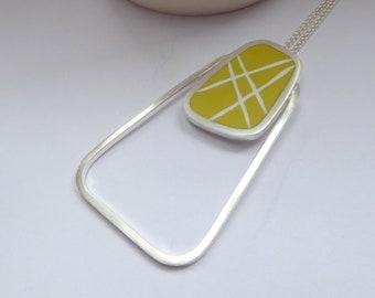 Yellow Pendant - Statement Pendant with Stripes - Rectangular Pendant - Modernist Gift - Large Silver Pendant - Graphico Pendant