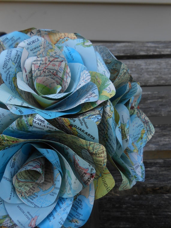 12 Vintage MAP Paper Roses. Home Decor, Wedding Bouquet, Anniversary Gift, Birthday, Mother's Day.