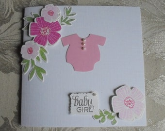 Pretty pink baby girl card. Welcome baby girl. New baby card.