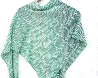 Knit Triangle scarf, knit cotton scarf, knitted cotton shawl, colorful wrap, knitting white green scarf, women men wrap, cotton kerchief