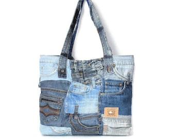 Oversize denim bag\Large tote\Recycled denim\Jeans bag\oversize tote\unisex bag\beach bag\boro bag\big bag\big tote\pocket bag\XXL bag