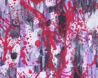 Rouge, violet, noir et blanc acrylique peinture abstraite sur toile «série 9 XXIX «Art mural, décoration, Design d'intérieur, Art moderne de la maison