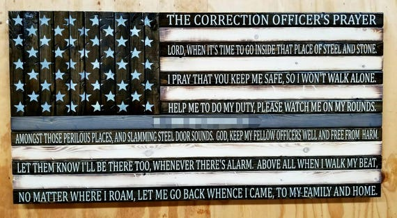 Thin Silver Line American Flag with Correction Officer's Prayer