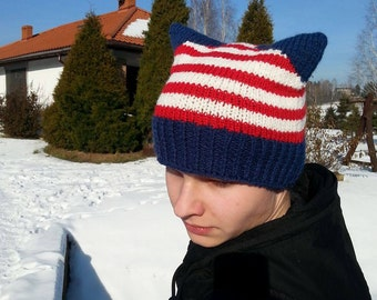 Powerhat, Powerhatcat, American Cat Hat, Cat Hat, Knit Hat, Knit Oryginal Hat, Uniwersal Hat, Uniwersalcathat, OOAK,   Ready to ship