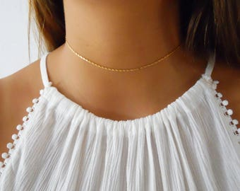 Gold Choker, Unique Chain Choker, Gold Collar Necklace, Layering Gold Choker, Short Gold necklace, Gold Chain Necklace #253