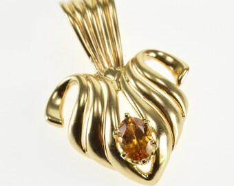14k Oval Citrine Scalloped Wavy Curvy Heart Pendant Gold