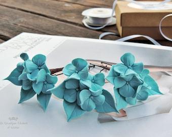 Forcine, Forcine per i capelli, Forcine per la sposa, Forcine azzurre, Forcine con i fiori, Ortensie azzurre, Ortensie blu, Mollette, Sposa