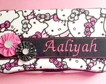 Diaper Wipes Case with Hello Kitty Faces in Pink, Black and Gray, Decorated  Wipes Case, Personalized Baby Gift, Personalized Wipes Case