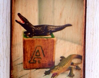 Vintage Toy  A is Alligator   Art/Photo - Wall Art 4x6