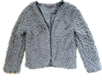 Womens fuzzy shaggy faux sherpa sweater jacket