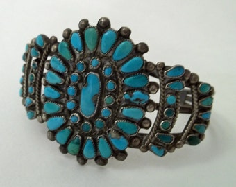 Zuni Turquoise and Silvere Cluster Cuff Bracelet