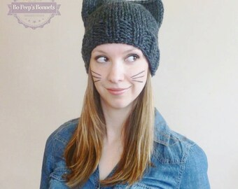 Hand Knit Cat Ear Hat in Charcoal Grey, Cat Beanie, Women's Knit Hat, Knitted Cat Hat, Winter Fashion Accessories Cat Ears Beanie Chunky Hat